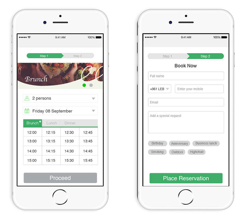 widget online reservation booking